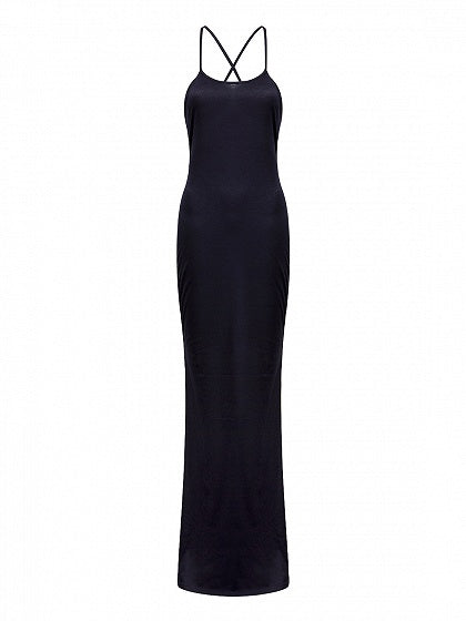 Black Spaghetti Strap Backless Maxi Dress