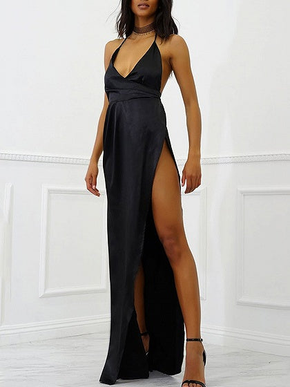 Black V-neck Halter Backless Side Split Satin Look Maxi Dress
