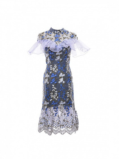 Navy Sheer Embroidery Floral Ruffle Trim Bodycon Midi Dress