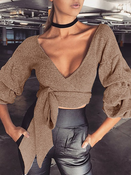 Khaki Plunge V-neck Tie Waist Puff Sleeve Cropped Knit Sweater