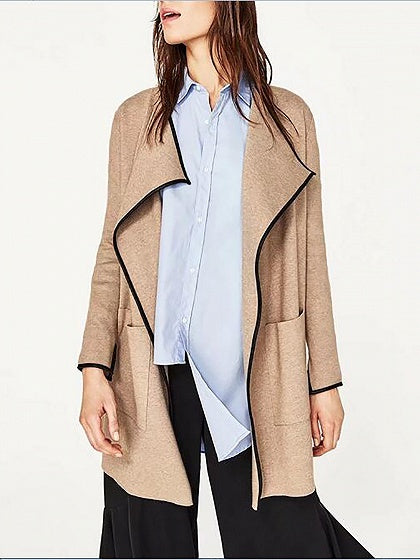Khaki Lapel Open Front Long Sleeve Knit Cardigan