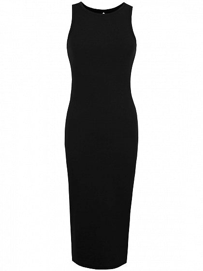 Black Lace Up Back Ribbed Bodycon Midi Dress
