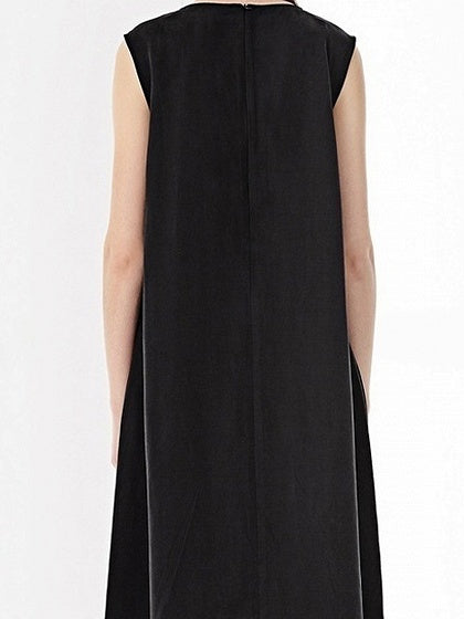 Black V-neck Tie Waist Sleeveless Midi Dress