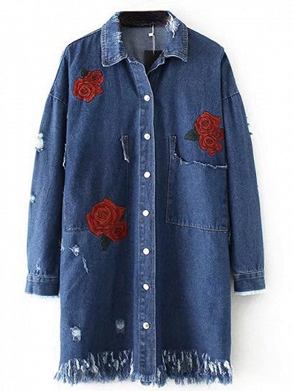 Blue Lapel Embroidery Rose Fringe Hem Longline Denim Coat