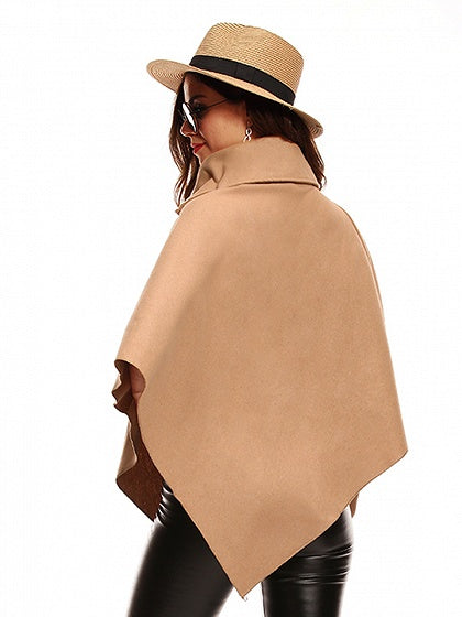 Khaki Zip Neck Asymetric Hem Wool Blend Poncho