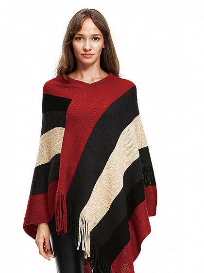 Red V-neck Geo Pattern Fringe Hem Knit Poncho