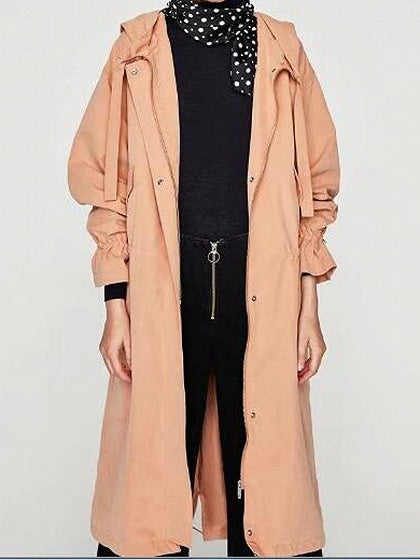 Pink Drawstring Split Back Zip Front Longline Hooded Trench Coat
