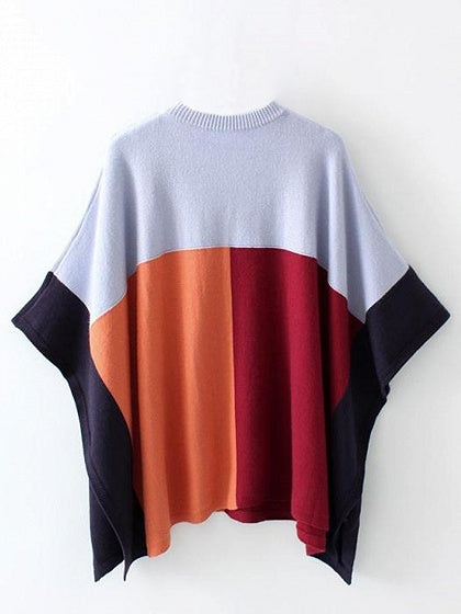 Color Block Scoop Neck Knit Poncho