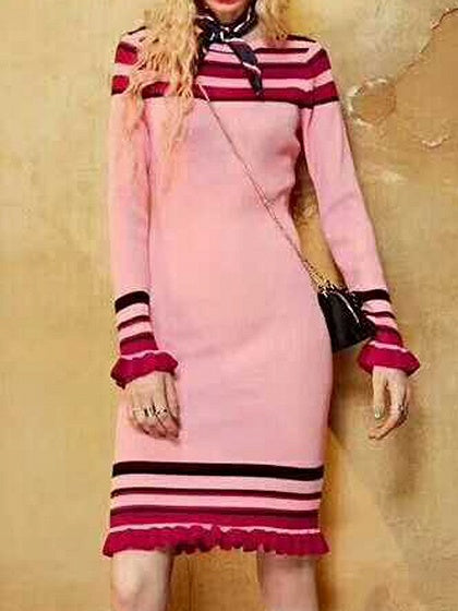 Pink Stripe Ruffle Hem Long Sleeve Knitted Bodycon Dress