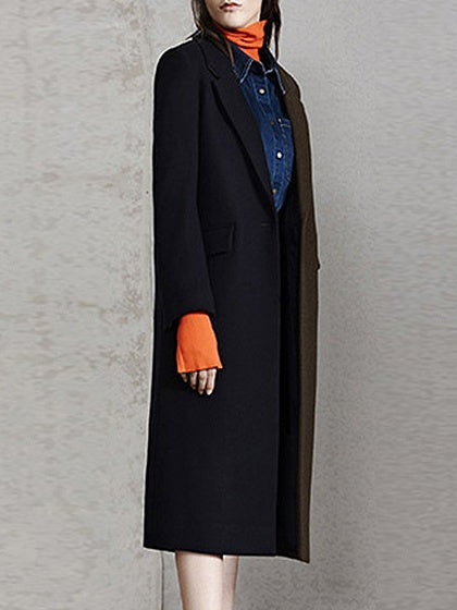 Color Block Lapel Wool Blend Longline Coat