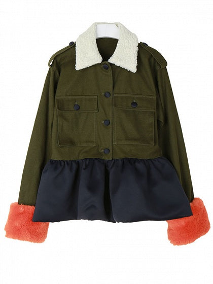 Army Green Lapel Faux Fur Trim Ruffle Hem Coat
