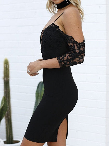 Black Spaghetti Strap Lace Up Bodycon Lace Mini Dress