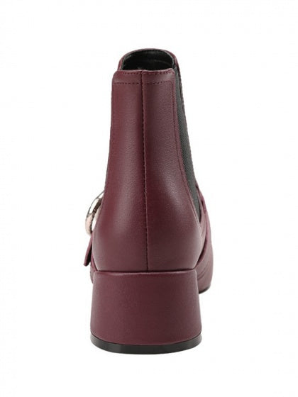 Burgundy Faux Pearl Embellished Metal Circle Buckle Ankle Boots
