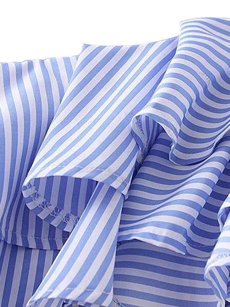 Blue Stripe Off Shoulder Ruffle Long Sleeve Blouse Top