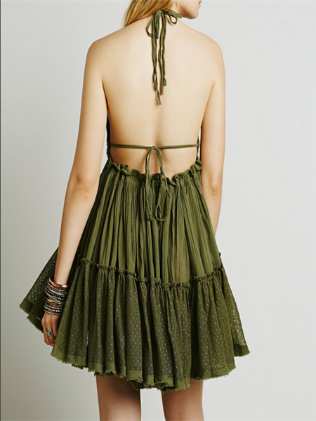 Halter Open Back Mini Dress