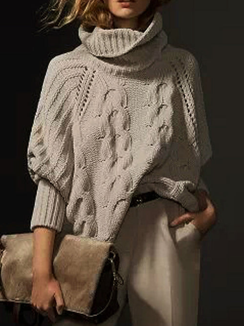 Gray High Neck Chunky Cable Knitting Long Sleeve Sweater