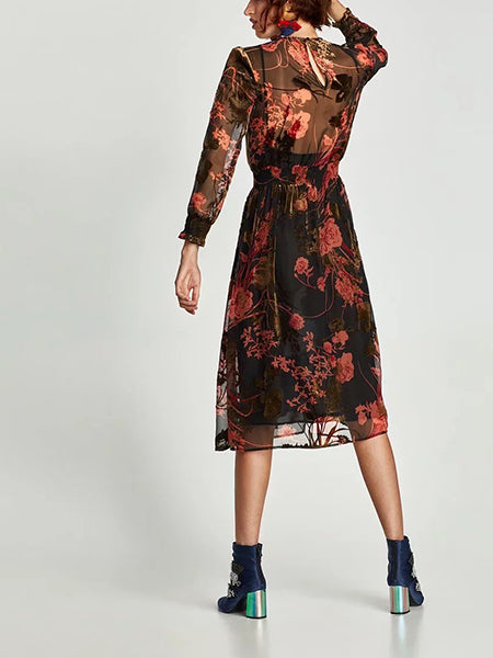Black Print Detail Long Sleeve Dress And Cami Lining