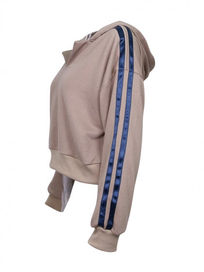 Light Pink V Front Striped Sleeve Hoodie