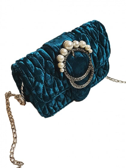 Blue Velvet Quilted Pearl Embellished Chain Shoulder Bag