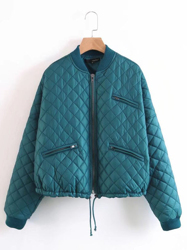 Blue Quilted Padded Bomber Jacket