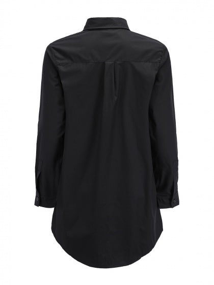 Black Cotton Pockets Detail Long Sleeve Women Shirt
