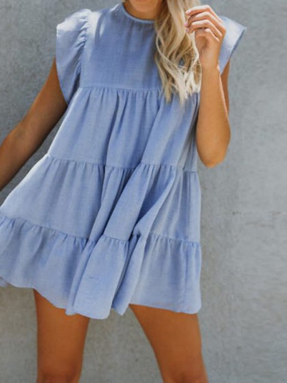 Light Blue Ruffle Sleeve Chic Women Mini Dress
