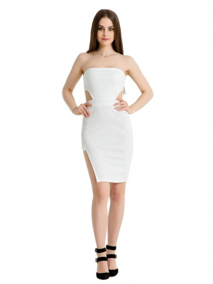 6586d547dc White Strapless Cut Out Detail Side Split Bodycon Mini Dress