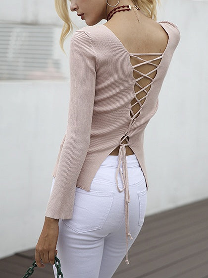 Pink V-neck Lace Up Back Long Sleeve Knitted Sweater – MYNYstyle b2033b807