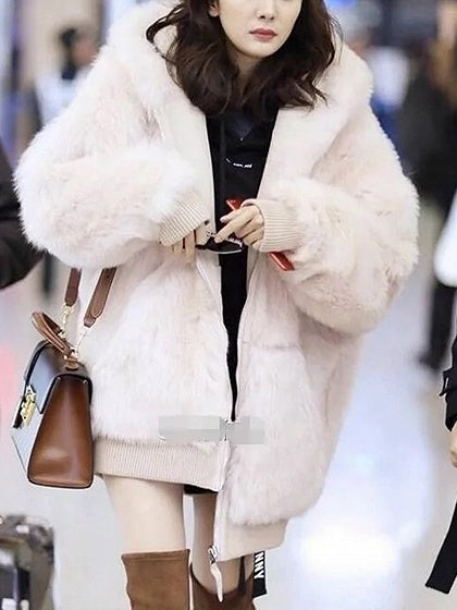 Light Pink Fluffy Hooded Faux Fur Coat