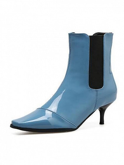 Blue Square Toe Heeled Ankle Boots