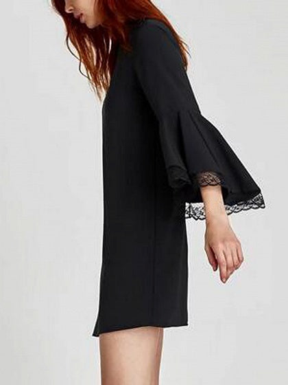 Black Stand Collar Lace Panel Flare Sleeve Mini Dress