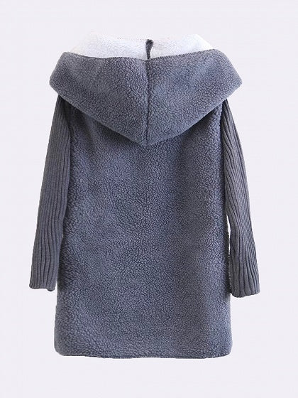 Gray Lapel  Faux Shearling Long Sleeve Hooded Coat
