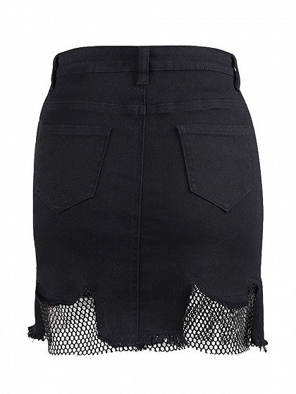 Black High Waist Fishnet Paneled Denim Mini Skirt