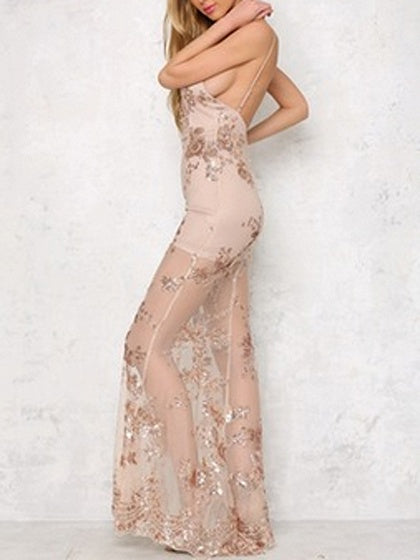 Gold Plunge Spaghetti Strap Sequined Side Split Sheer Maxi Dress