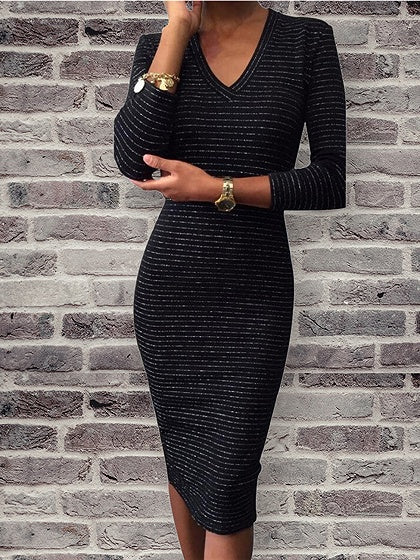 Black V-neck Long Sleeve Bodycon Midi Dress