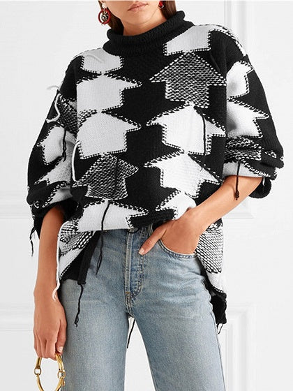 f5a63bed639537 Color Block Geo Pattern Long Sleeve Chunky Knit Sweater – MYNYstyle