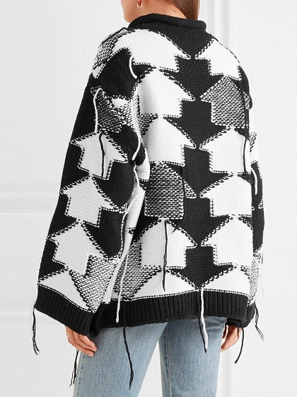Color Block Geo Pattern Long Sleeve Chunky Knit Sweater