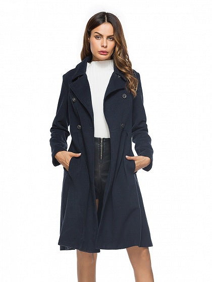 Navy Blue Lapel Double-breasted Longline Wool Blend Coat