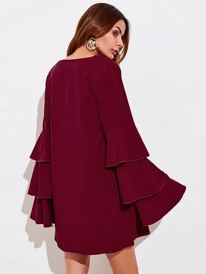 Burgundy V-neck Layered Flare Sleeve Mini Dress