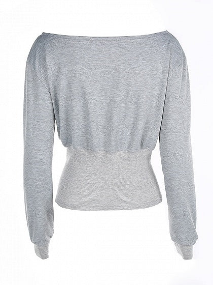 Gray Lace Up Front Long Sleeve Cropped Sweatshirt