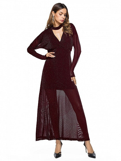 Burgundy Choker Neck Plunge Long Sleeve Maxi Dress