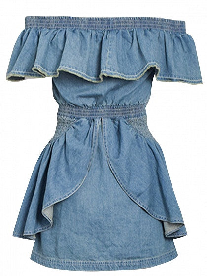 Blue Off Shoulder Ruffle Trim Denim Mini Dress