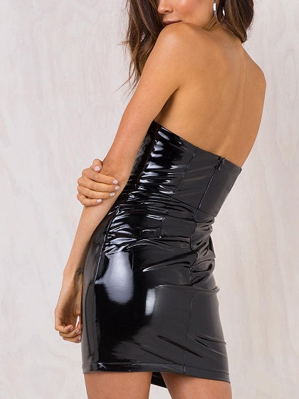 Black Strapless Belted Waist Leather Look Bodycon Mini Dress