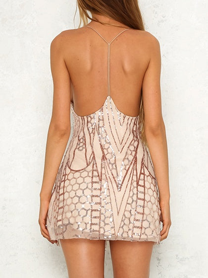 Pink Plunge Open Back Sequin Detail Cami Mini Dress