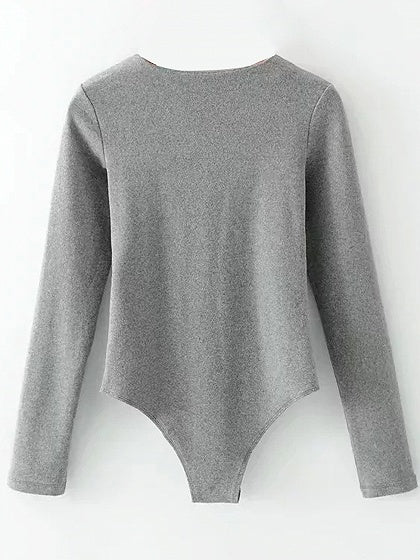 Gray V-neck Knot Front Long Sleeve Bodysuit