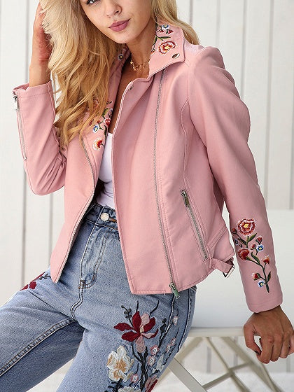 Pink Lapel Embroidery Floral Detail Leather Look Biker Jacket