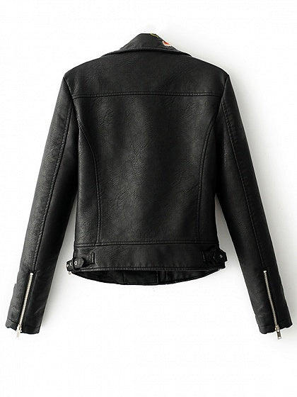 Black Lapel Embroidery Floral Detail Leather Look Biker Jacket