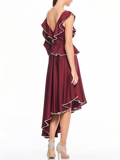 Burgundy Plunge Ruffle Detail Asymmetric Hem Dress