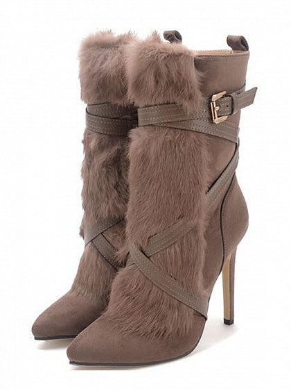 Khaki Faux Fur Panel Buckle Strap Pointed Heeled Boots