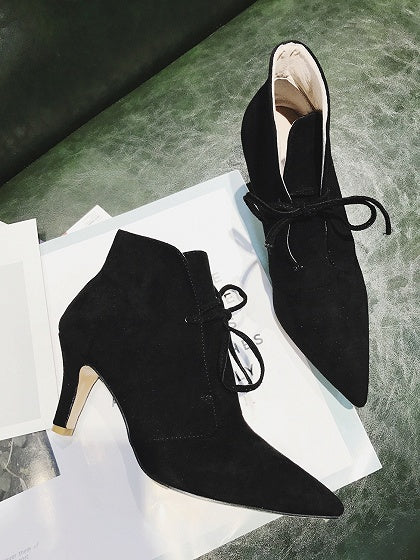 Black Faux Suede Lace Up Pointed Ankle Boots